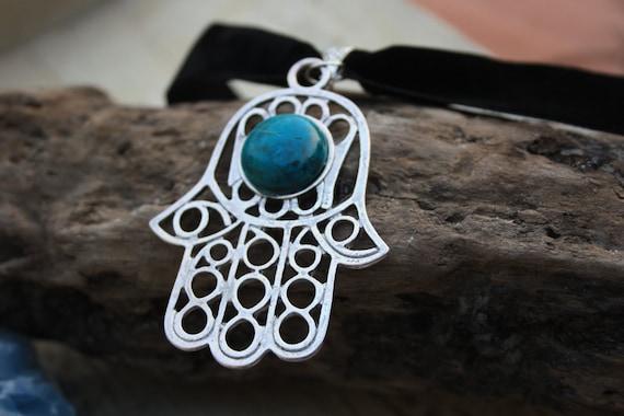 TURQUOISE HAMSA CHOKER -Chakra Necklace- Hand of Fathima- Statement Necklace- Choker- Christmas- Gift- Spiritual- Crystal- Chakra jewellery