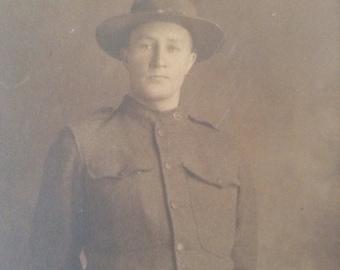 Antique Military Photo Sepia 1918