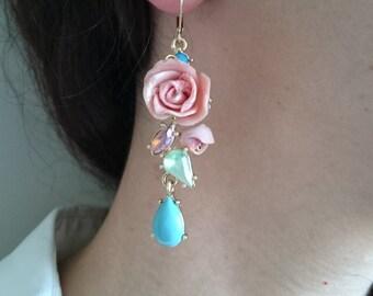 Polymer clay earrings, dangle earrings, Pink roses,Vintage style,  Bridesmaid Earrings, Bridesmaid Gifts, Bridal Earrings