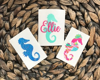 Sea Horse with or without Personalization - Lilly Pulitzer Inspired - Glitter - Polka Dot - Chevron FREE SHIPPING