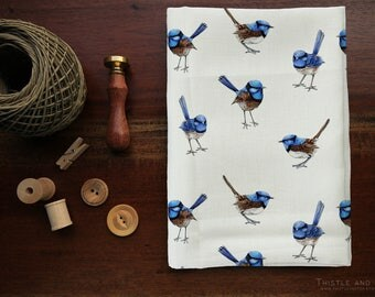 Blue Wren Watercolor Australian Designer Fabric Australia Fairy Wren Bird, Printed Cotton by the yard | Ships from USA, Free Ship Worldwide