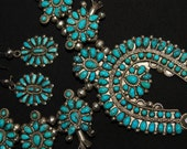 Sold to J Spectacular Old Vintage Zuni Lone Mountain Turquoise Squash Blossom Sterling Necklace And Earrings 161 Grams