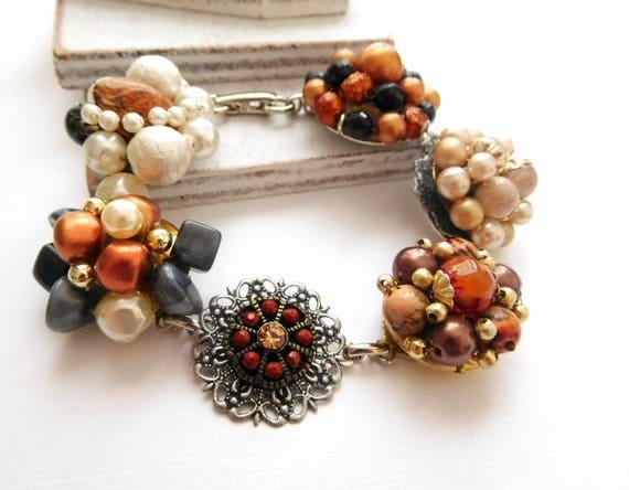Repurpose Vintage Cluster Earring Copper Brown White Pearl Charm Bracelet S35