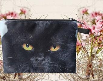 Cat pouch, cat purse, cat clutch, cat lover pouch, cat portrait pouch, cat makeup bag MK 1602