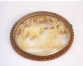 Celluloid Brooch Signed Depose France Man Bicycle Lady Horse 2 1/4' Vintage Art Deco