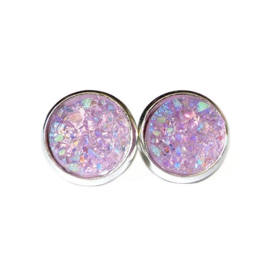 AB Lavender Titanium Druzy Stud Earrings | Post Setting