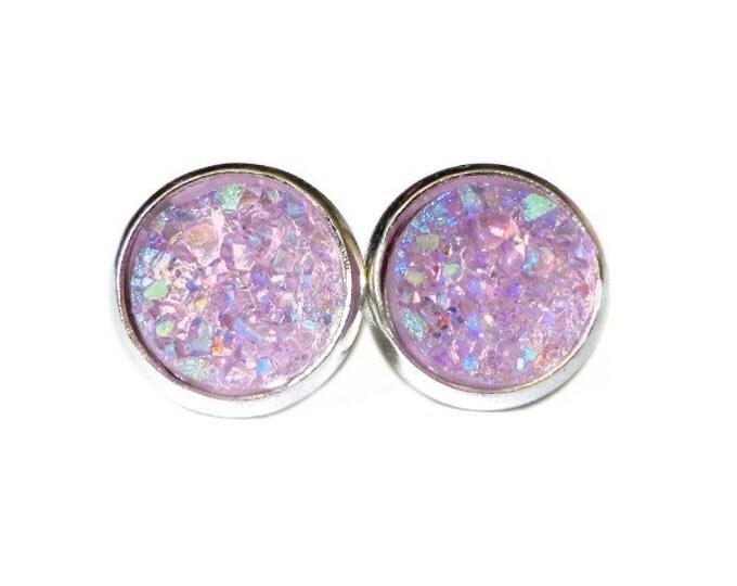 AB Lavender Titanium Druzy Stud Earrings   Post Setting