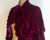 ON SALE FREE Shipping/Unique Vintage 1920's Capelet/Luxurious Silk Velvet Capelet/1920's Tiered Capelet/Small to Large