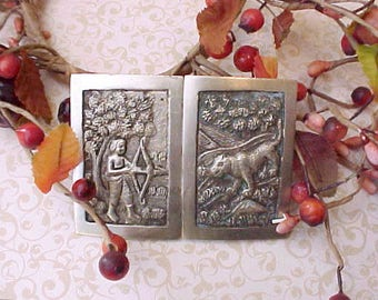 Charming and Unusual Edwardian Era Sash Buckle-East Indian Archer Hunting Large Cat