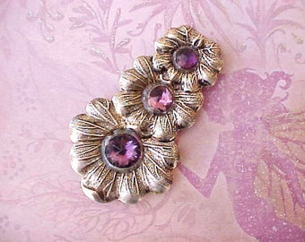 """Beautiful Art Deco Dress Clip with Faceted Deep Royal Purple """"Stones"""""""
