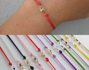 Mini eye cord bracelet with cz - tiny  cz evil eye bracelet   - silver - gold - rose gold - mini evil eye bracelet