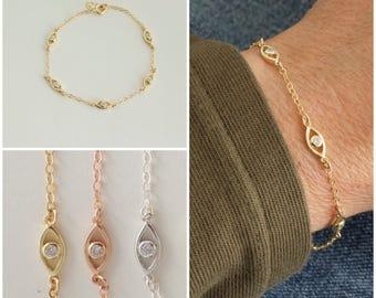 Evil eye station bracelet - tiny cz evil eye - multi evil eye bracelet  - small evil eye bracelet - silver - gold - rose gold