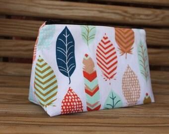 Feathers Makeup Bag - Cosmetic Bag, Makeup, Travel Bag, Bridesmaid Gift, Gift for Her