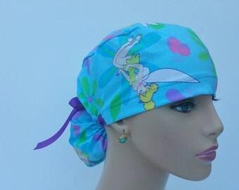 Ponytail Scrub Cap - Tinker Bell - Lavender - 100 % Cotton