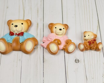 Vintage 1980s Chalkware Bears Nursery Decor