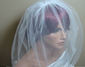 Double Layer Tulle Birdcage Veil White Bridal Veil Wedding Tulle Birdcage Veil