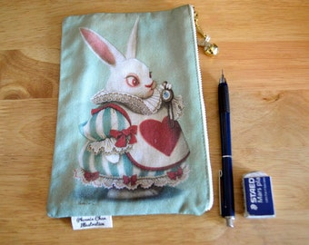 White Rabbit from Alice Wonderland Pouch, Pencil Case, Bag
