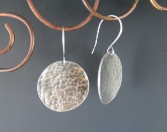 Round Hammered Sterling Silver Earrings, Rustic Chic, Handmade, Handcrafted, Everyday Earrings, Metalsmith, Organic