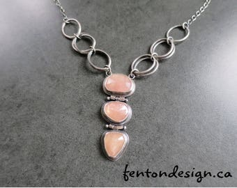 Rosecut Sapphire Necklace, Peach Sapphire Necklace, Pink Sapphire Necklace, Hinged Necklace, One of a Kind Necklace, Sterling Silver