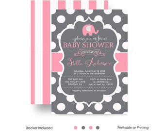 Coral Elephant Baby Shower Invitation for Girls Polka Dot and Slate Sprinkle Classic Invites Custom Printable or Printing with Envelopes