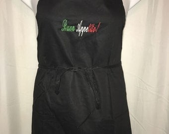 Buon Appetito!  Embroidered Italian Apron BLACK - 100% Cotton