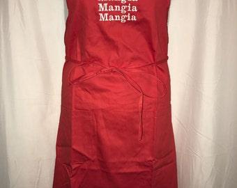 Mangia Mangia Mangia RED Embroidered Italian Apron - 100% Cotton