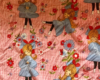Vintage coverlet mod girl sixties fabric twin bed size