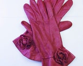 FUCHSIA LEATHER GLOVES - Fine Leather Gloves Made By Dents of England (Established in 1777) - Gauntlet Style with Flower - Snap Closure