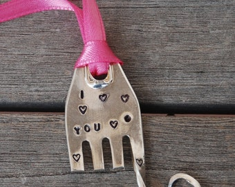 ELEPHANT ornament hand stamped I (heart) YOU with hearts and Year on back  PINK ribbon made from Vintage Fork small size