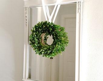Vintage White Mirror Large Wood Frame Shabby Chic Ornate