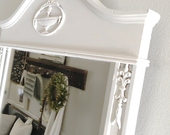 Vintage White Mirror Large Wood Frame Shabby Chic Ornate