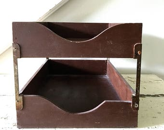 Vintage File Tray Wood Midcentury two Tiered Dovetailed