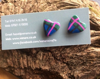 Scottish gift - Tartan Heart Studs - Heart Earrings - Polymer clay earrings