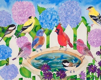 Songbirds and Bird Bath with Hydrangeas with Picket Fence,  Watercolor Garden Painting, Carissa Joie Luminess Art