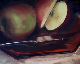 "Archival 8"" x 12"" Art Print / Free Shipping / Sliced Apple on Sienna Plate (no.148) Oil Painting Realism Apple Dramatic Dark"