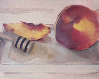 Sliced Peaches and Honey Dipper (no.149) Oil Painting Realism Fruit Still Life
