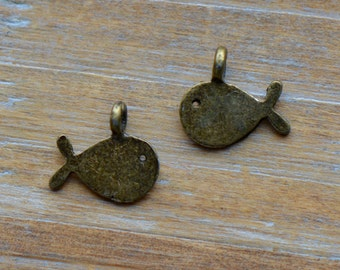 Fish Charm - Antique Bronze - Nautical Marine Whale - Vintage Style Charms Pendant Jewelry Supplies ()