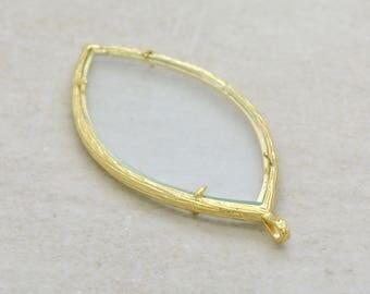 DIY Glass Locket Pendant Gold Leaf Branch Shape Double Sided Locket Pressing Frame Jewelry Pendant ()