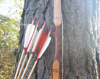 "CLEARANCE Bubinga and Hickory bow, 35lb at 27"", traditional wood archery bow. Comes with 4 arrows"