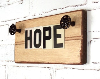 HOPE Wall Sign, Shelf Plaque, Reclaimed Bead Board, Religious Art Decor, Repurposed Vintage Tin Letters, Creamy Off-White Distressed Finish