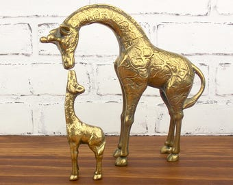 Brass Giraffes Figurines Mom and Baby Statue Pair of Giraffes Set of 2 Mid-Century Home Decor