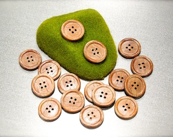 VINTAGE: 20 Rustic Distressed Wood Buttons - Natural Wood Buttons - SKU 17-B1-00008138