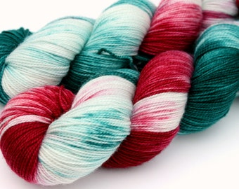"Kettle Dyed Sock Yarn, Superwash Merino, Nylon and Stellina, in ""Holly and Ivy"""