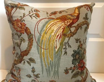 Teal, Rust and Green Bird Floral Pillow Covers in Waverly Olana Bayleaf Fabric