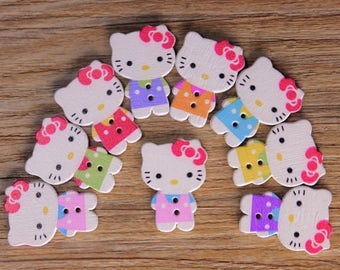 "30 PC Painted wood buttons 25mm - Wooden Buttons ,tree buttons, natural wood buttons ""hello kitty"" A078"