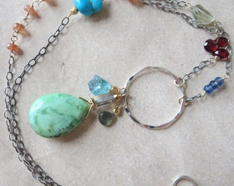 Natural Gemstone Sterling Silver and Gold Boho Necklace