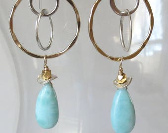 Larimar Gold Filled Sterling Silver Triple Hoop Earrings