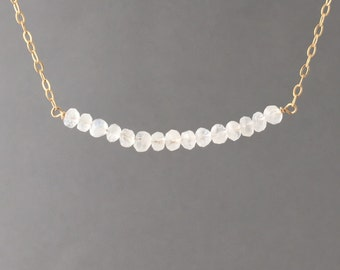 White Moonstone Beaded Necklace Gold, Rose Gold, or Silver