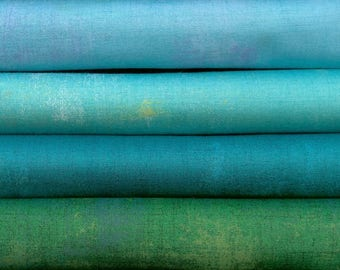 Grunge By Basic Grey For Moda Fabrics 4 Cool Bright Fat Quarters 100 Percent Premium Cotton Quilting Fabric