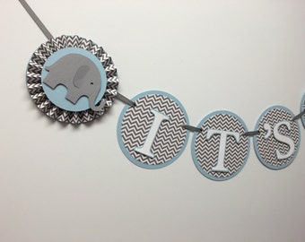 Baby Blue and Grey Chevron | It's a Boy | Baby Elephant Banner | Elephant Baby Shower Decor | Rosettes Custom Name Banner